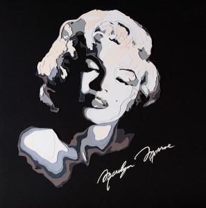 Karolína Zemenčíková - Marilyn - portrét vyřezávaný z papíru - oceněná práce v soutěži Doteky papíru